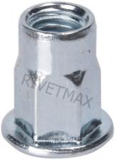 Заклепка резьбовая  полушестигранная с плоским бортом М6 L15,5 нержавеющая
